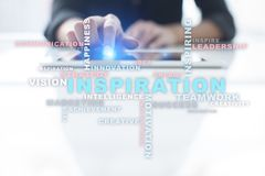Inspiration words cloud on the virtual screen. Inspiration words cloud on the virtual screen Royalty Free Stock Images