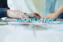 Inspiration words cloud on the virtual screen. royalty free stock image