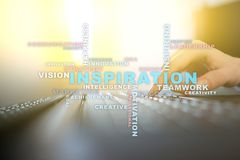 Inspiration words cloud on the virtual screen. stock photography