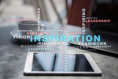 Inspiration words cloud on the virtual screen. Inspiration words cloud on the virtual screen royalty free stock photo