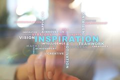 Inspiration words cloud on the virtual screen. stock photo
