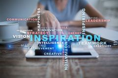 Inspiration words cloud on the virtual screen. stock images