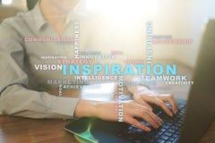 Inspiration words cloud on the virtual screen. stock photos