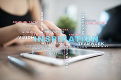 Inspiration words cloud on the virtual screen. Inspiration words cloud on the virtual screen stock images