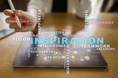 Inspiration words cloud on the virtual screen. Royalty Free Stock Photography