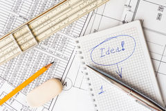 Inspiration at work, writing an ideas in the notebook Royalty Free Stock Photography