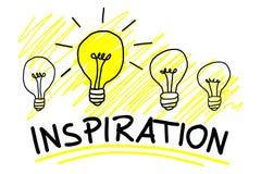 Inspirationaffärsidé med en enkla ljusa Bulp vektor illustrationer