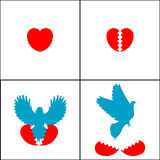 Inspirational abstract illustration. Of a heart and a bird rising from it Stock Photography