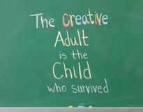 Inspirational Artistic Phrase. Written on chalkboard showing creativity Stock Photos