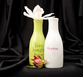 Inspirational Bottles with Flowers Royalty Free Stock Image