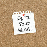 Inspirational Business Life Phrase Note Open Your Mind Stock Photos