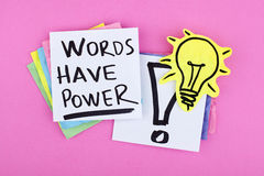 Inspirational business note words have power. Words have power note and light bulb background concept stock image