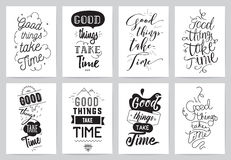 Inspirational cards 8 set. Typographical design Stock Photography