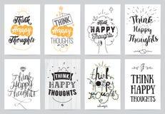 Inspirational cards 8 set. Typographical design Stock Photos