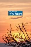 Inspirational citaat door onbekende bron over zonsondergang Stock Fotografie