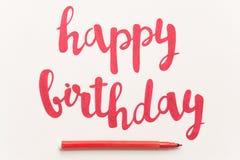 Inspirational citaat` Gelukkige verjaardag ` voor groetkaarten en affiches stock foto