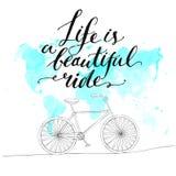 Inspirational citaat - het leven is een mooie rit Stock Fotografie
