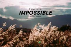 Inspirational citaat op Cogon-grasgebied Stock Afbeeldingen