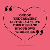 Inspirational citaat van het liefdehuwelijk Één van de grootste gift u vector illustratie