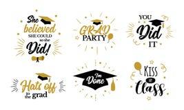 Inspirational citaten van de gradpartij aan congratgediplomeerden royalty-vrije illustratie