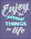 Inspirational citaten voor het genieten van het van leven Royalty-vrije Stock Foto's