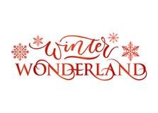 Inspirational de vakantiekaart van het de wintersprookjesland met het van letters voorzien royalty-vrije illustratie