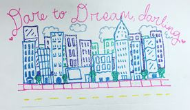 Inspirational drawing of buildings royalty free stock photos