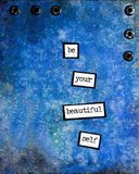 Inspirational Encouragement Words on a Blue Abstract Background. This unique illustration was made from a photograph of my original mixed media artwork. The blue royalty free stock image