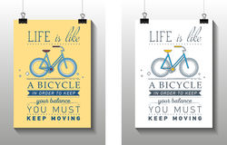 Inspirational and encouraging quote. Vector poster with bicycle. Hipster Quote Background, typography with sign and symbol. Funny poster Royalty Free Stock Photo