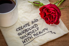 Inspirational handwriting on napkin royalty free stock photos