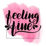 Inspirational handwritten brush lettering feeling royalty free illustration