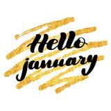 Inspirational het van letters voorzien inschrijving hello januari vector illustratie