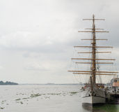 Inspirational image of medieval sailing ship. Wonderful inspirational image of medieval sailing ship ready to start sailing into new, amazing and unknown lands royalty free stock images