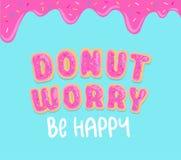Inspirational kaart van de doughnutzorg met doughnutdoopvont, zoete doughnutglans en blauwe achtergrond De glansillustratie van d royalty-vrije illustratie
