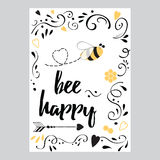 Inspirational lшау quote for valentines day or save the date banner. Bee mine. Hand drawn typography poster. Bee happy. Romantic life inspirational stock illustration