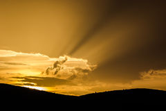 Inspirational lights. Rays of sunlight emerging from the clouds Royalty Free Stock Photo