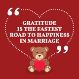 Inspirational love marriage quote. Gratitude is the fastest road. To happiness in a marriage. Simple trendy design Royalty Free Stock Photo