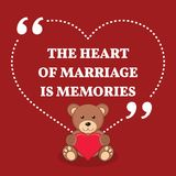 Inspirational love marriage quote. The heart of marriage is memo Stock Photo