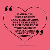 Inspirational love marriage quote. Marriages, like a garden, take time to grow. But the harvest is rich unto those who patiently. And tenderly care for the vector illustration