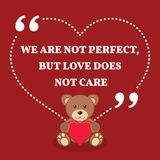 Inspirational love marriage quote. We are not perfect, but love Stock Images