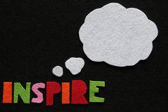 Inspirational Message in Felt with Thought Bubble. Inspirational message made from colourful felt letters on black felt background with white felt thought bubble royalty free stock images