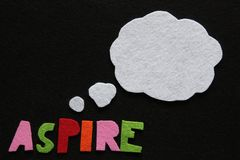 Inspirational Message in Felt with Thought Bubble. Inspirational message made from colourful felt letters on black felt background with white felt thought bubble stock photography