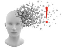 Inspirational moment. 3D rendering of exclamation mark coming out from a model of human head Royalty Free Stock Photography