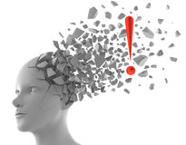 Inspirational moment. 3D rendering of exclamation mark coming out from a model of human head Royalty Free Stock Images