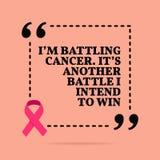 Inspirational motievencitaat Ik vecht kanker Het is een andere slag die ik geweest en= om te winnen royalty-vrije illustratie