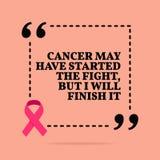 Inspirational motievencitaat Kanker kan de strijd begonnen zijn, maar ik zal het be?indigen vector illustratie