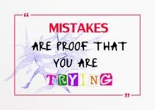 Inspirational, Motievencitaat op de achtergrond van de waterkleur Stock Afbeelding