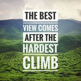 Inspirational motivating typography quote on nature background. stock image