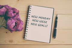 New Monday, New week, new goals quote stock images