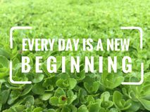Inspirational motivation quote. `every day is a new beginning` on blurred background Stock Images
